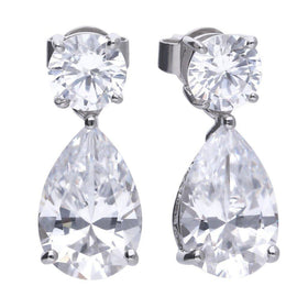 Claw Set Double Stone Pear Drop Earrings - E5596