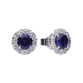 Blue Sapphire Coloured Solitaire Stud Earrings - E5598