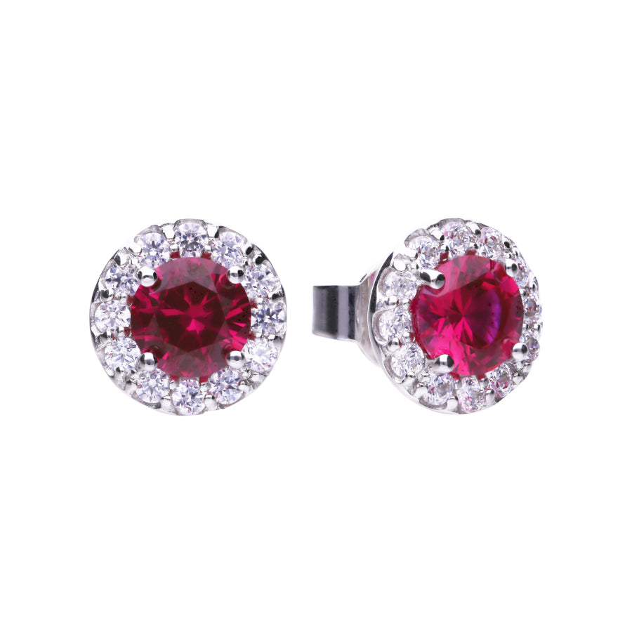 Red Ruby Coloured Round Solitaire Earrings - E5654