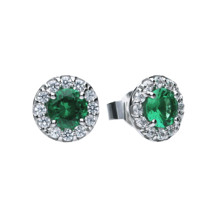 Green Emerald Coloured Round Solitaire Earrings - E5655