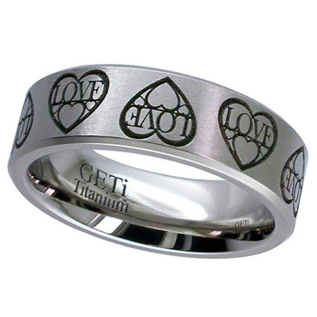 Engraved Titanium Ring - 2226CH-LOVE