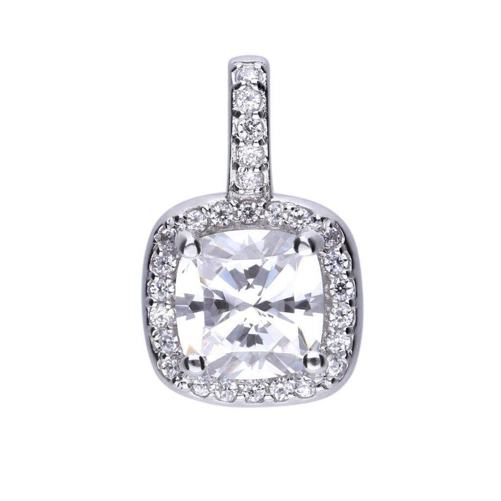 Square Solitaire and Pave Pendant - P4617