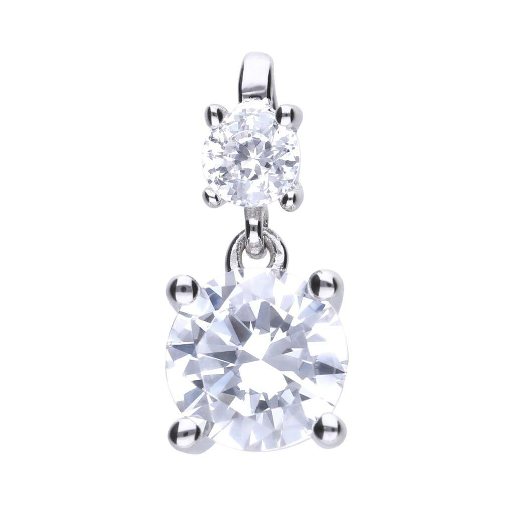Claw Set Double Stone Drop Pendant - P4638