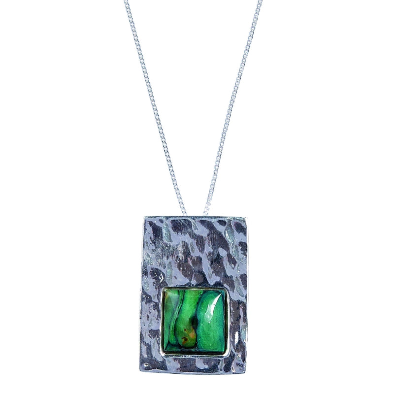 Heather Rectangle Hammered Silver Pendant - SP412