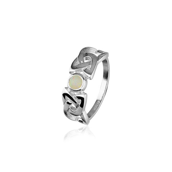 Silver & Opal Celtic Ring - SR110