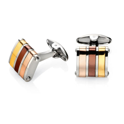 Fred Bennett Brown, Gold and Rose Cufflinks - V475