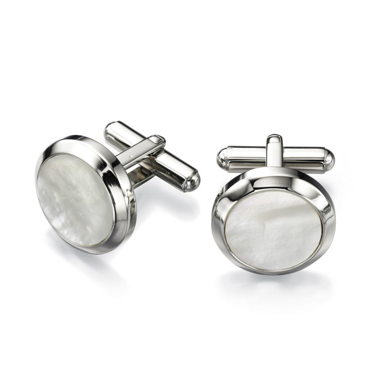 Fred Bennett Mother of Pearl Round Steel Cufflinks - V482