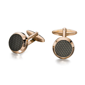 Fred Bennett Round Gold Plated and Textured Steel Cufflinks - V498
