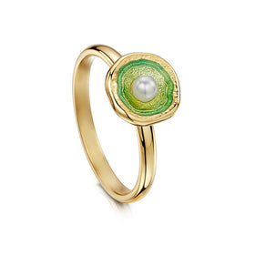Lunar 18ct Yellow and Enamel Gold Ring With Pearl - ESR00249