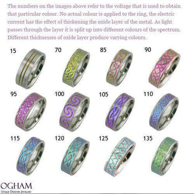 Anodised Zirconium Band - 4020PRN-ANO-Ogham Jewellery