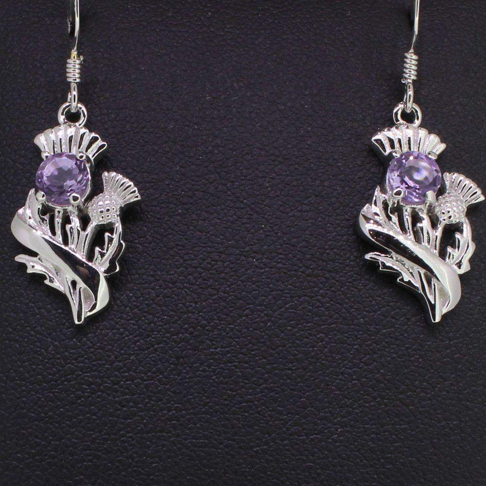 Cairn Silver and Amethyst Earrings - 55525-Ogham Jewellery