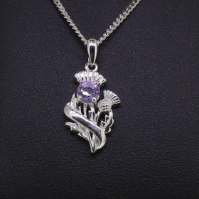Cairn Sterling Silver And Amethyst Scottish Thistle Pendant - 55520-Ogham Jewellery