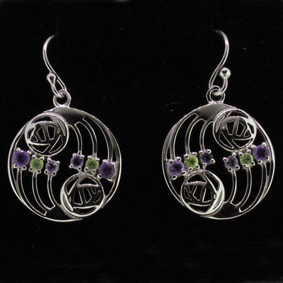 Cairn Sterling Silver And Gemstone Mackintosh Earrings - 776-Ogham Jewellery