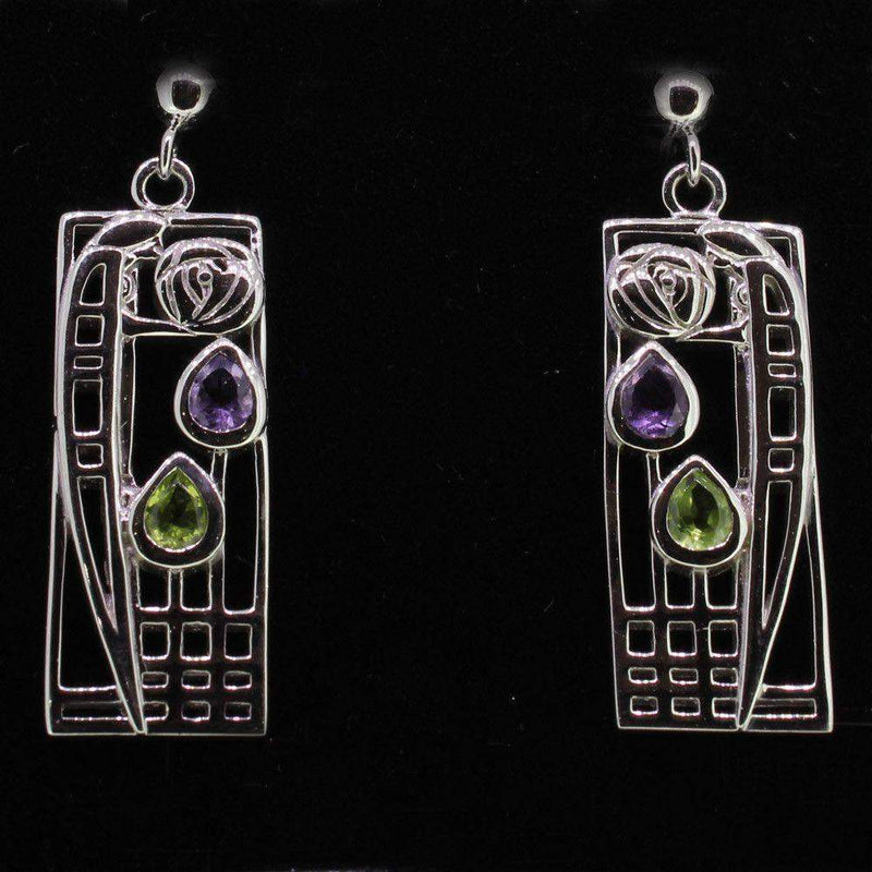 Cairn Sterling Silver And Gemstone Mackintosh Earrings - E311-Ogham Jewellery