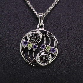Cairn Sterling Silver And Gemstone Mackintosh Pendant - P77-Ogham Jewellery