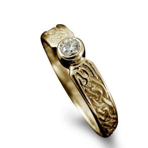 Celtic Diamond Ring in Gold, Platinum - Shetland-R128-Ogham Jewellery
