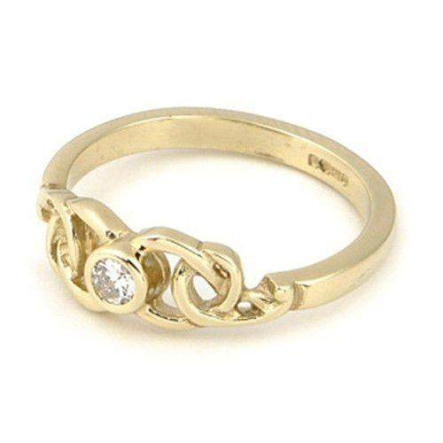 Celtic Engagement or Wedding Ring, 9ct 18ct White or Yellow Gold -DR17-Ogham Jewellery