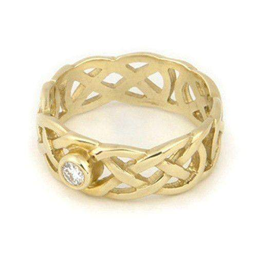 Celtic Engagement or Wedding Ring 9ct or 18ct White or Yellow Gold -DR1-Ogham Jewellery
