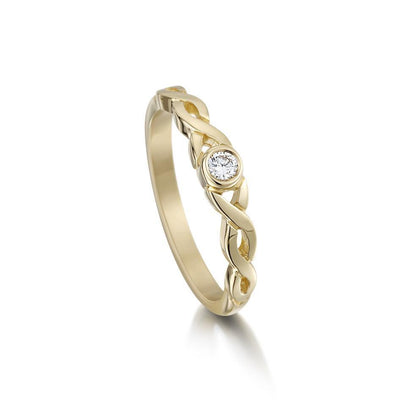 Celtic Knot Diamond Ring - 9ct, 18ct Gold, Platinum, Palladium - DR173 - Size J-Q-Ogham Jewellery