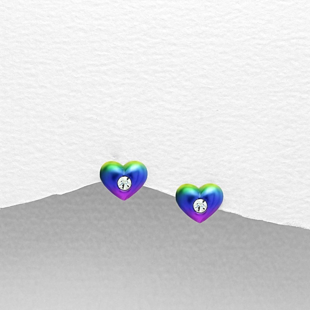Children's Sterling Silver Colourful Heart Earrings-Ogham Jewellery