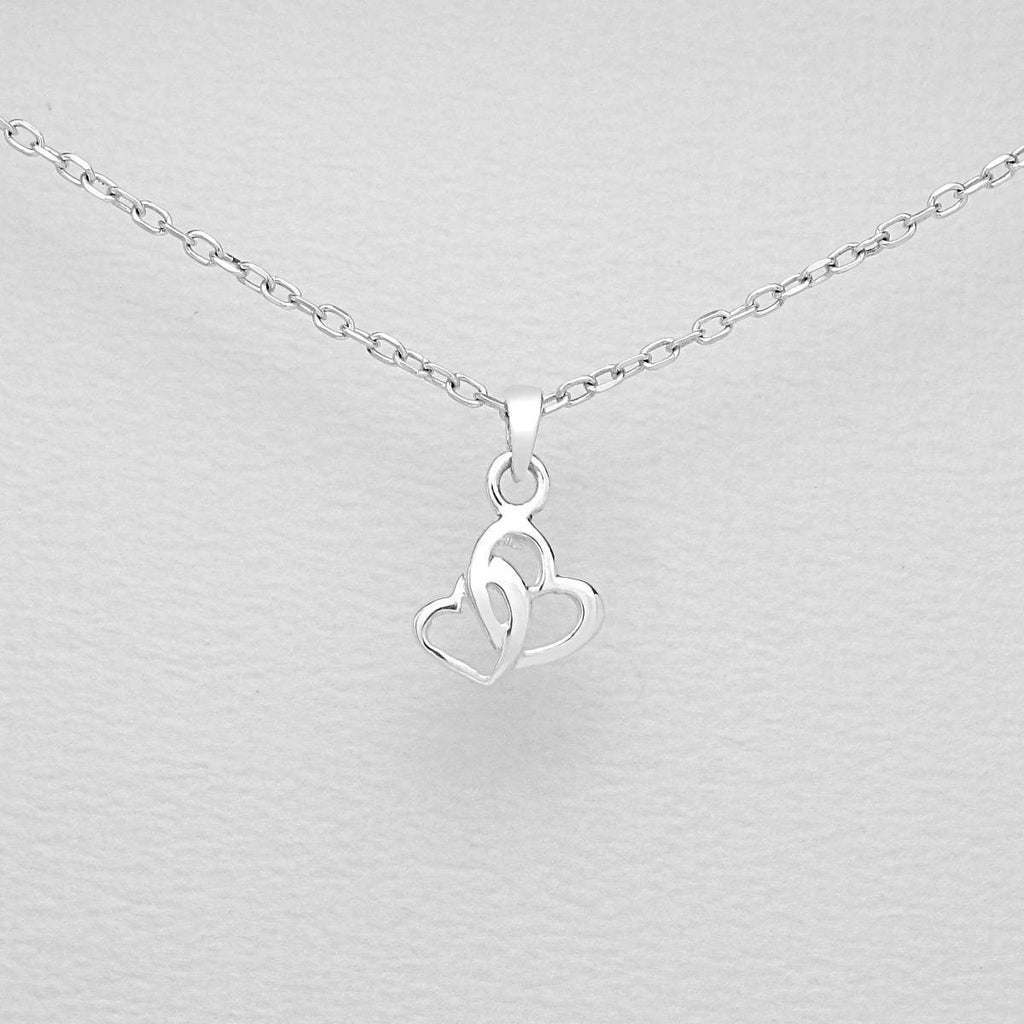 Children's Sterling Silver Double Heart Pendant .-Ogham Jewellery