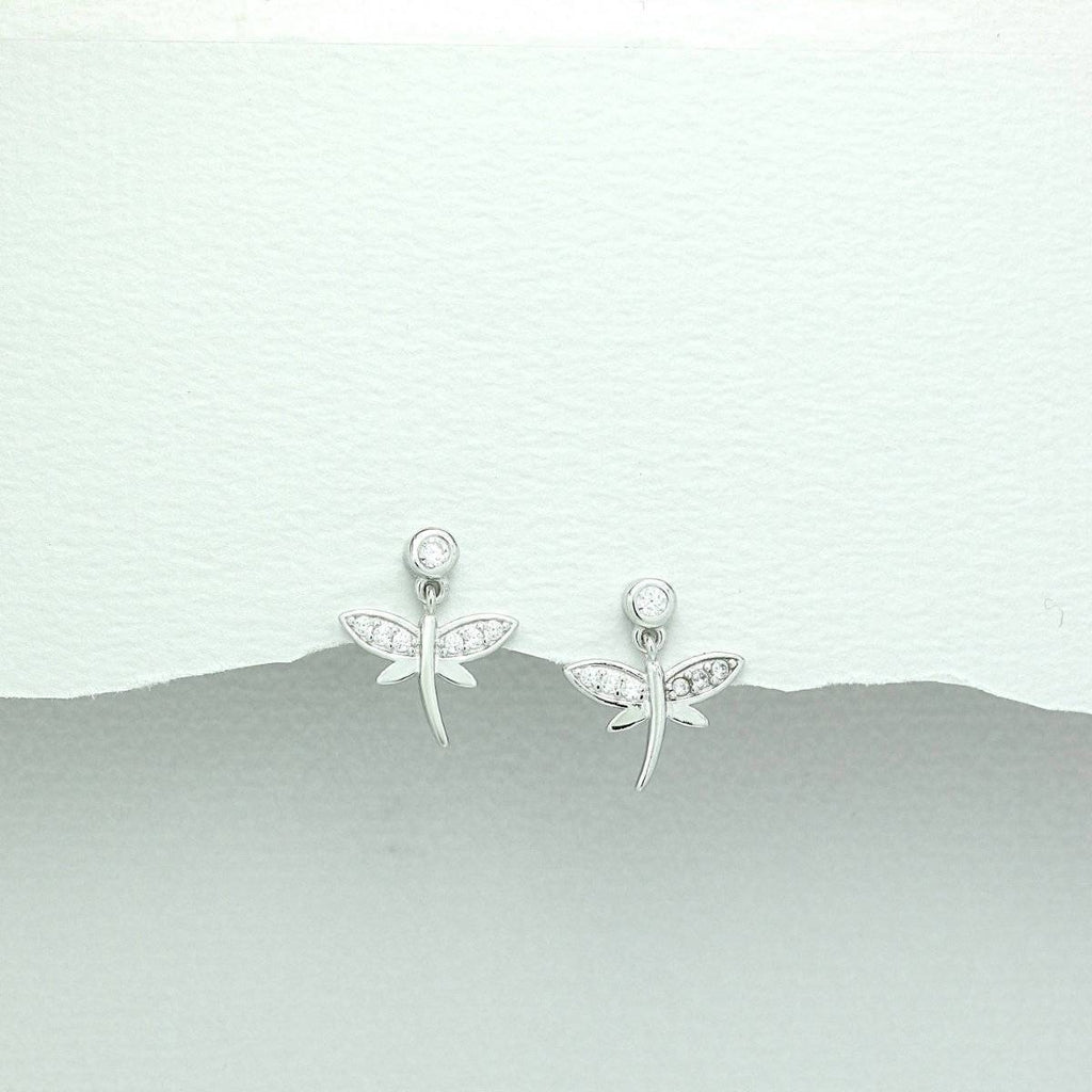 Children's Sterling Silver Drop Cubic Zirconium Dragonfly Earrings-Ogham Jewellery