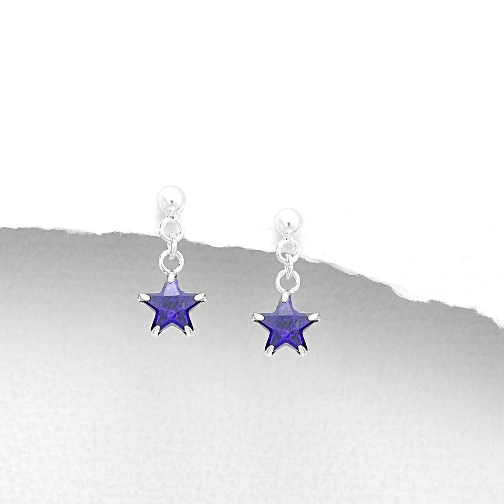 Children's Sterling Silver Drop Cubic Zirconium Earrings-Ogham Jewellery