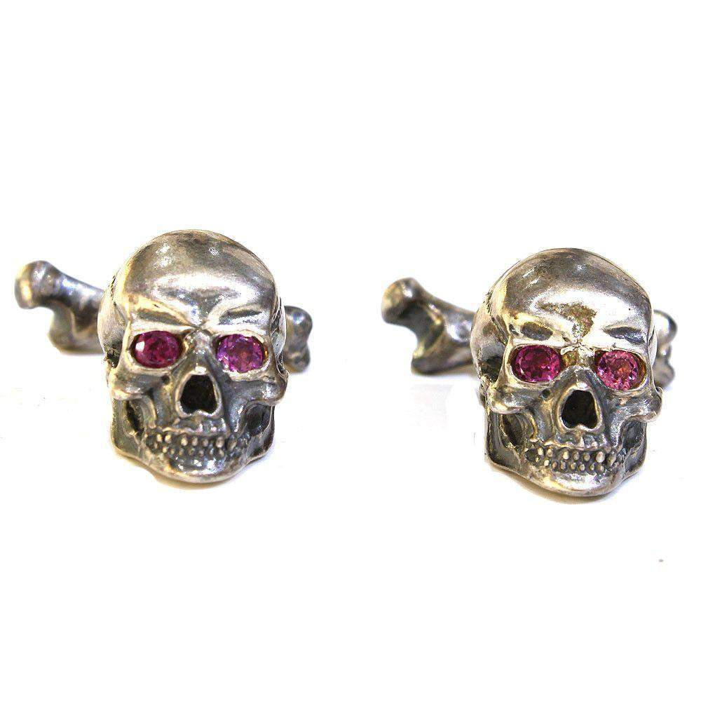 Chris Hawkins Ruby Eyed Skull Cufflinks-Ogham Jewellery