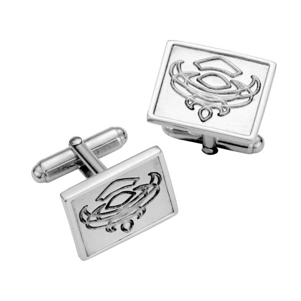 Silver Engraved Thistle Cufflinks - CL003