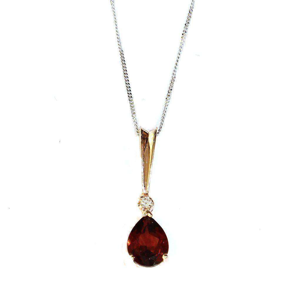 Corona 9ct Rose Gold Garnet Pendant-Ogham Jewellery