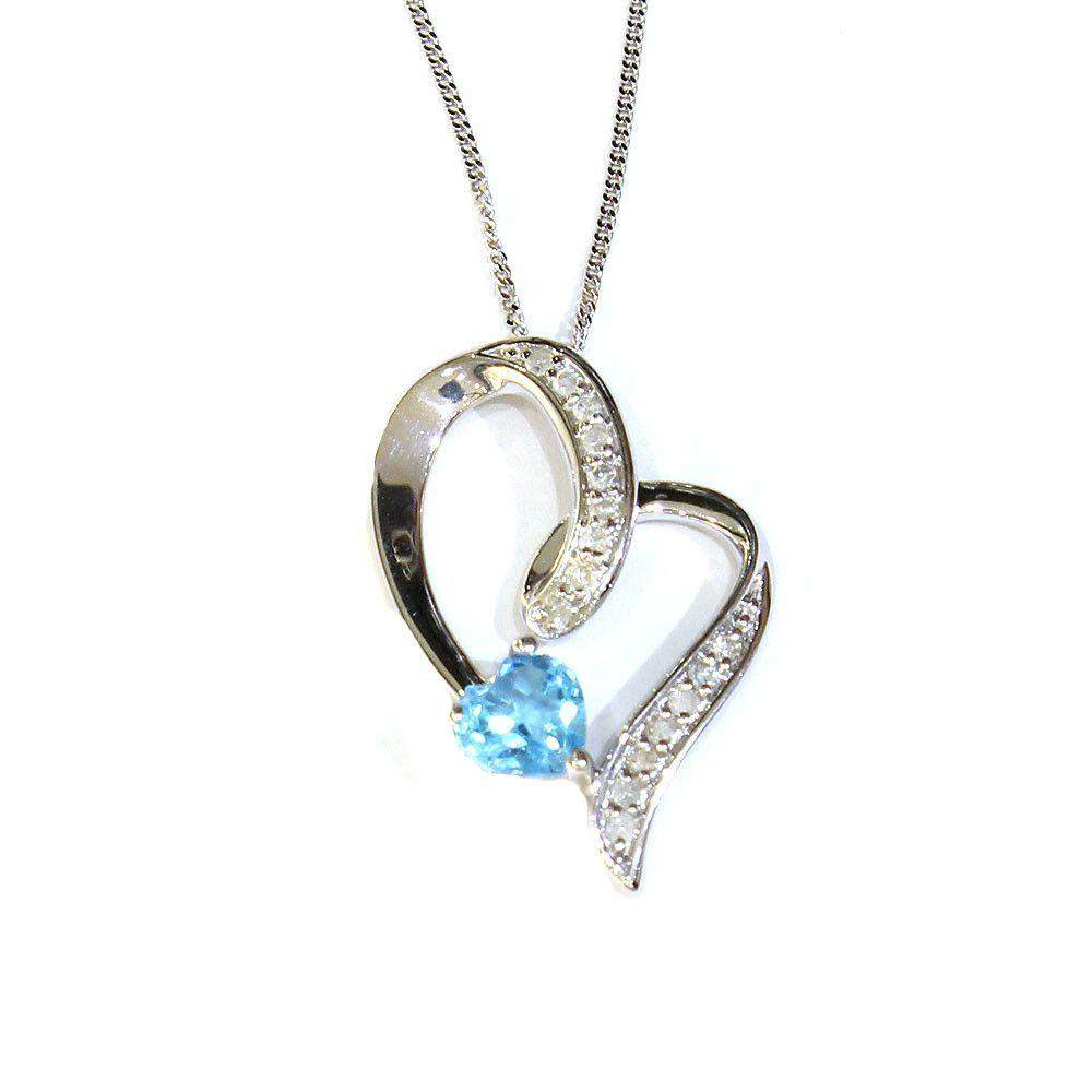 Corona 9ct White Gold Blue Topaz Pendant-Ogham Jewellery