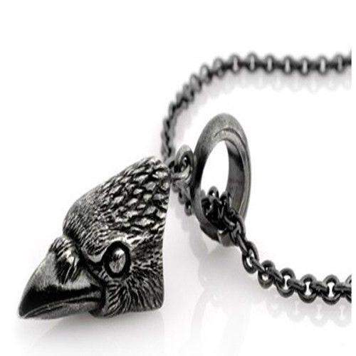 Crow Head Oxidised Silver Pendant