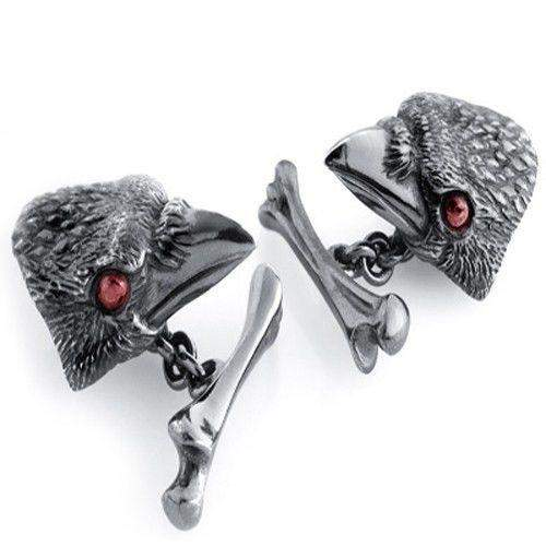 Crow with Garnet Eyes Silver Cufflinks-Ogham Jewellery