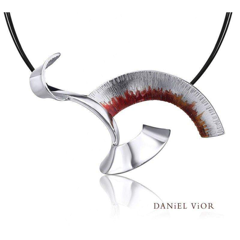 Daniel Vior Apoaxis Red Enamel Necklace - 766721-Ogham Jewellery