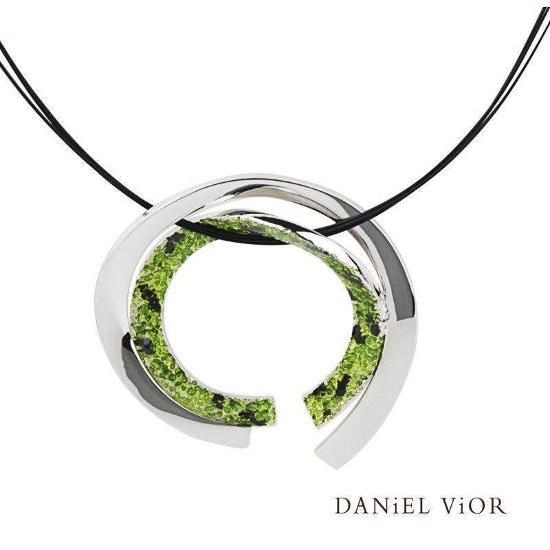 Daniel Vior Cinxi Green Or Red Enamel Necklace - 765964-Ogham Jewellery