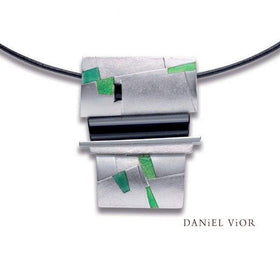 Daniel Vior Clasto Onyx Green Enamel Necklace - 765740-Ogham Jewellery