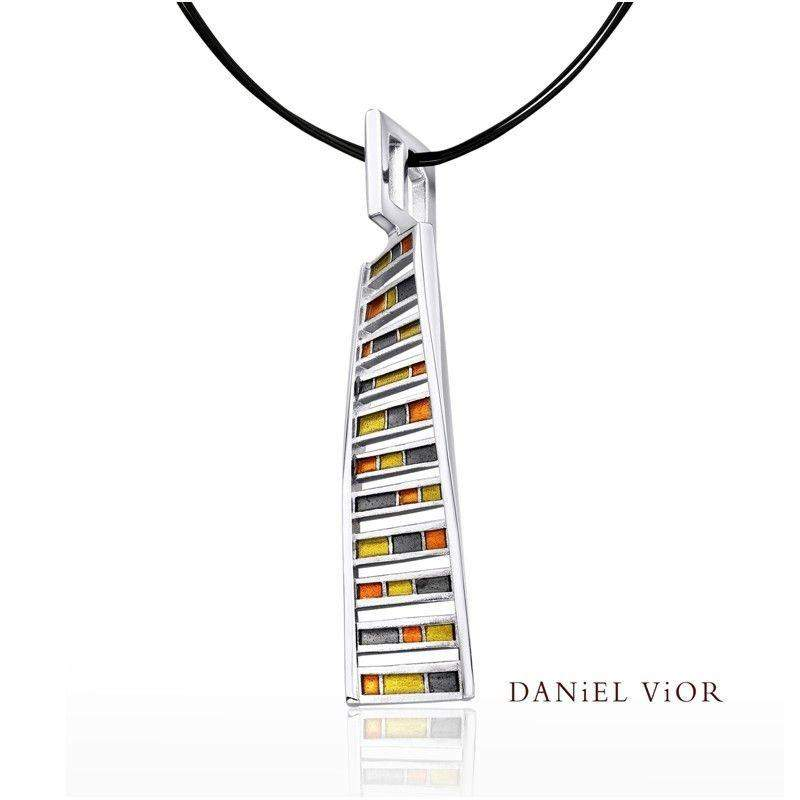 Daniel Vior DNA Green Enamel Necklace - 766641-Ogham Jewellery