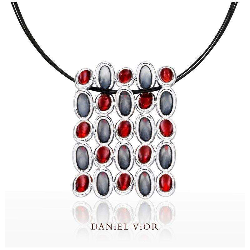 Daniel Vior Elipses Red Enamel Necklace - 766850-Ogham Jewellery