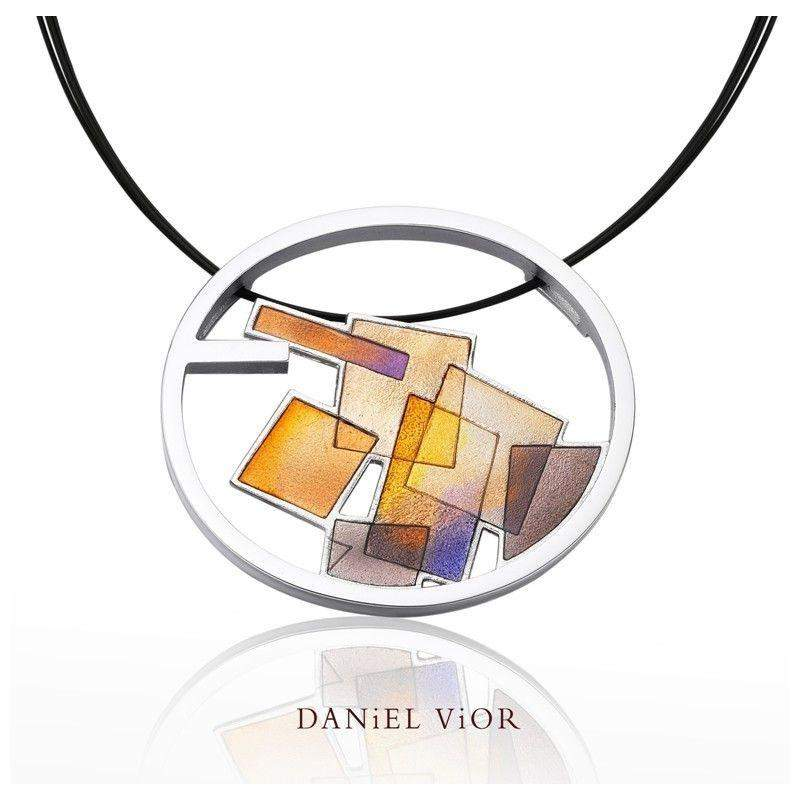 Daniel Vior Interseccions Orange/Brown Enamel Necklace - 766860-Ogham Jewellery