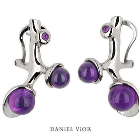 Daniel Vior Silver & Amethystl Designer Earrings -Ecto-Ogham Jewellery
