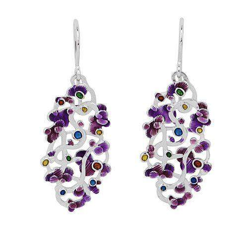 Silver & Enamel Designer Earrings - Calicaos