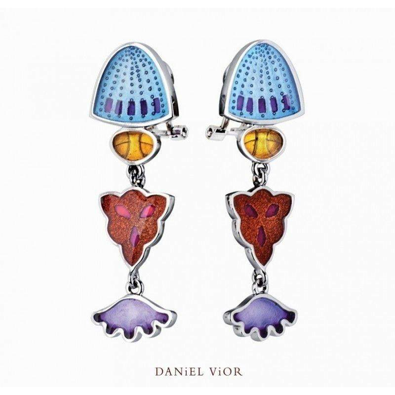 Daniel Vior Silver & Enamel Designer Earrings -Diatomeas-Ogham Jewellery