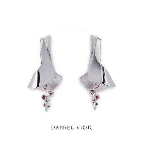 Daniel Vior Silver & Enamel Designer Earrings - Ligula-Ogham Jewellery