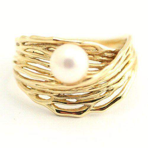 Designer Gold and Pearl Ring-Ogham Jewellery