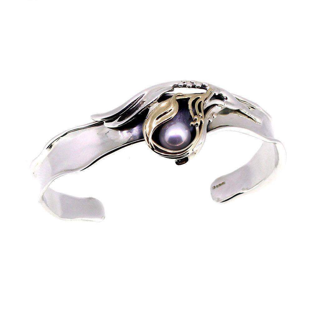 Designer Silver And Gold Pearl Bangle-D310