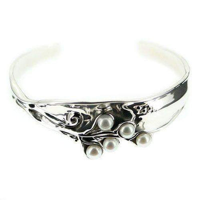 Designer Silver And Pearl Bangle D313-Ogham Jewellery