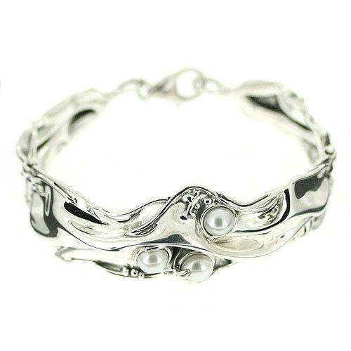 Designer Silver And Pearl Bangle D6101