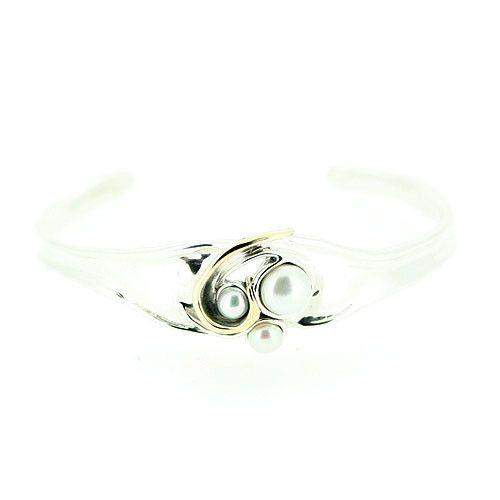 Designer Silver And Pearl Bangle-E100-Ogham Jewellery