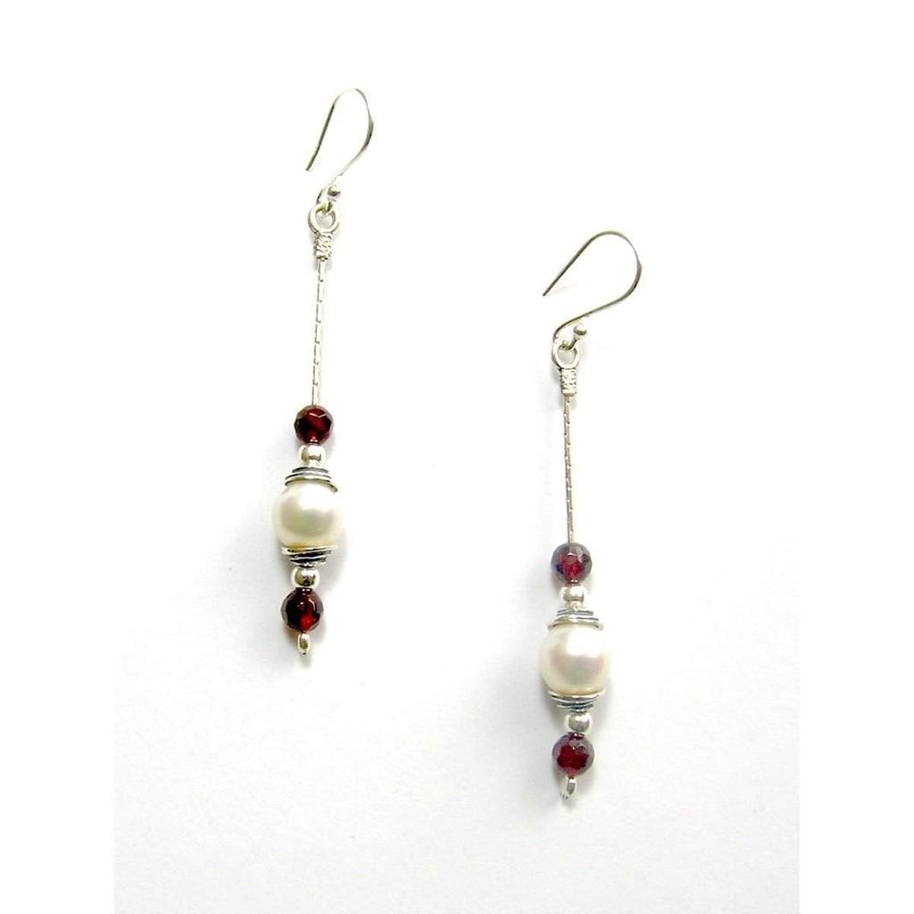 Designer silver and Pearl Garnet earrings E5434D-Ogham Jewellery