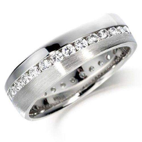 Diagonally Set Diamond Eternity Ring - Various Metals Available - ET110-Ogham Jewellery